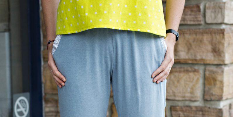 Closeup of the front of Mairin's True Bias Hudson Pants