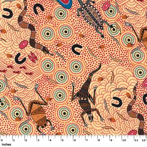 Aboriginal Around the Waterhole QC in Ecru