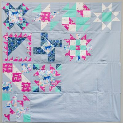 Block of the Month finished quilt top: Cool Colorway