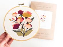 JD Coral Floral Cross Stitch Kit