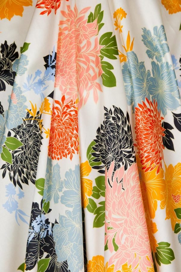 Digital Floral Print Voile in White