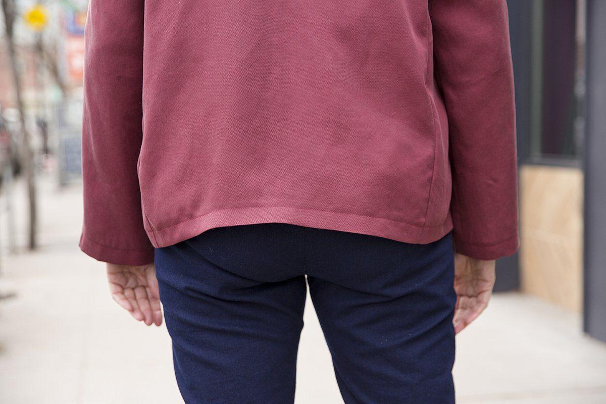Curved back hem of my first Tabula Rasa Jacket