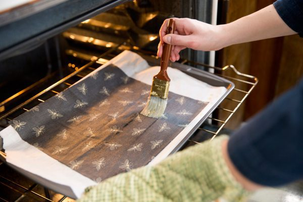 Keeping your wrap partially in the oven makes redistribution and excess removal simple!