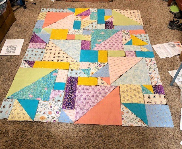 My quilt all laid out...