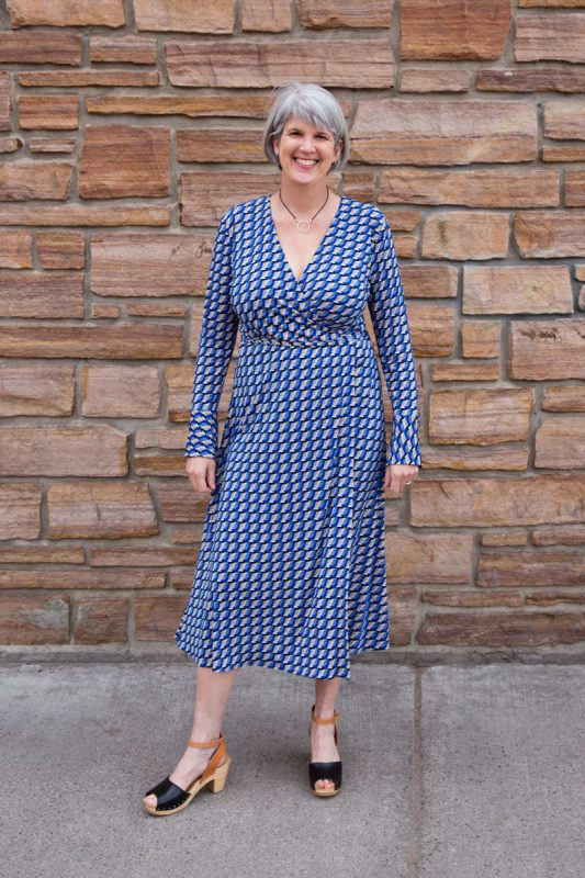 Blue Knit Wrap Dress