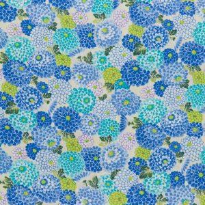 Chirimen Floral Crepe in Blue
