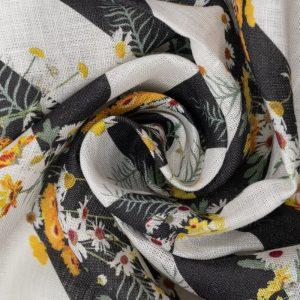 Lino Italian Linen with Daisy Stripes