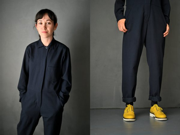 Two pictures of a person in black jumpsuit, one of their face and toso and one of their legs and shoes.