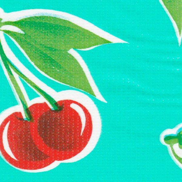 Oilcloth in Cherry Aqua