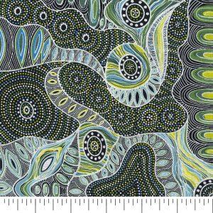 Aboriginal Regeneration Quilting Cotton in Green