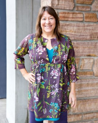 The Schoolhouse Tunic in a Sheer Cotton/Silk Blend with Flowers