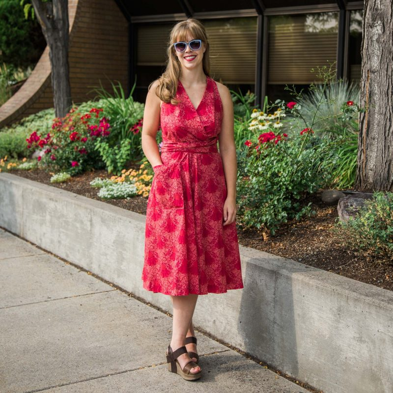 The Decades of Style Siren Sundress in the Blooming Garland Poplin in Red