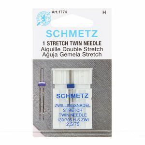 Schmetz 2.5 mm Twin Stretch Needle in Size 75